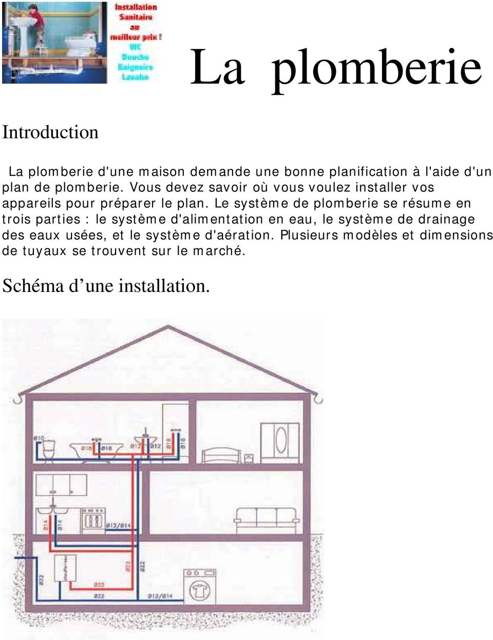 la plomberie introduction sch ma d une installation pdf. Black Bedroom Furniture Sets. Home Design Ideas