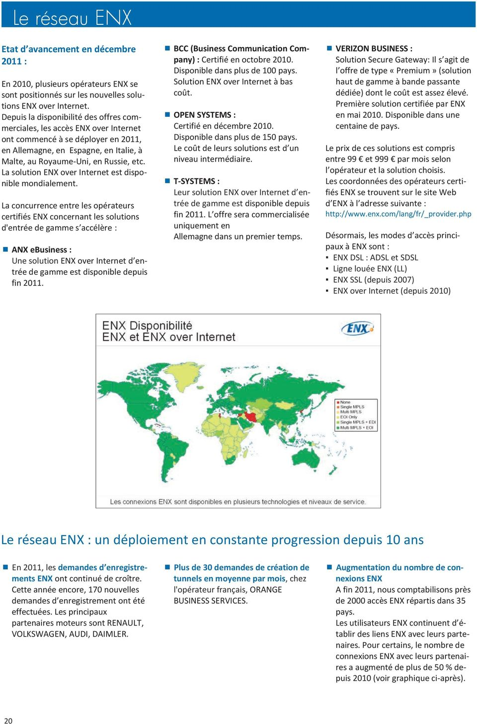 La solution ENX over Internet est disponible mondialement.