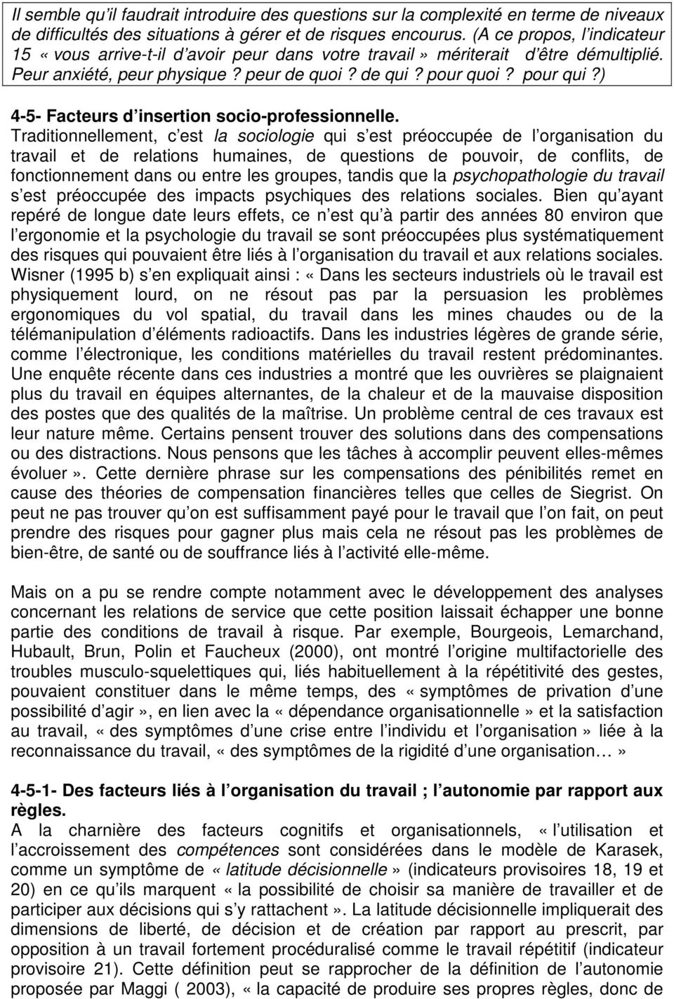 ) 4-5- Facteurs d insertion socio-professionnelle.