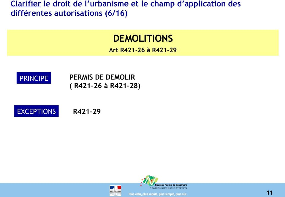 DEMOLITIONS Art R421-26 à R421-29 PRINCIPE PERMIS