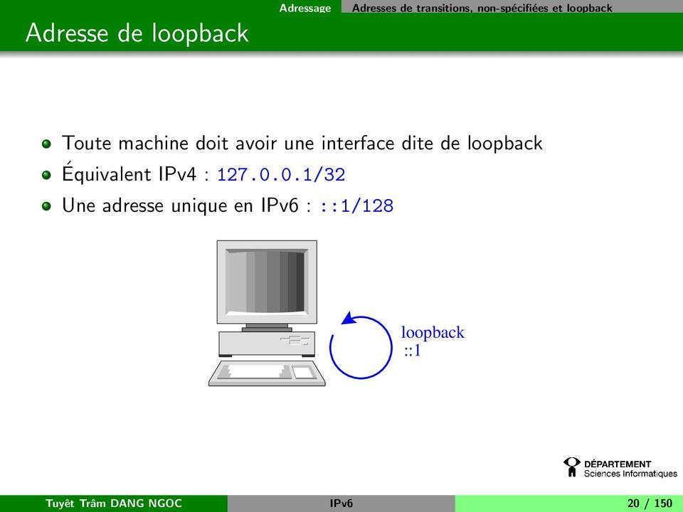 interface dite de loopback Équivalent IPv4 : 127.0.