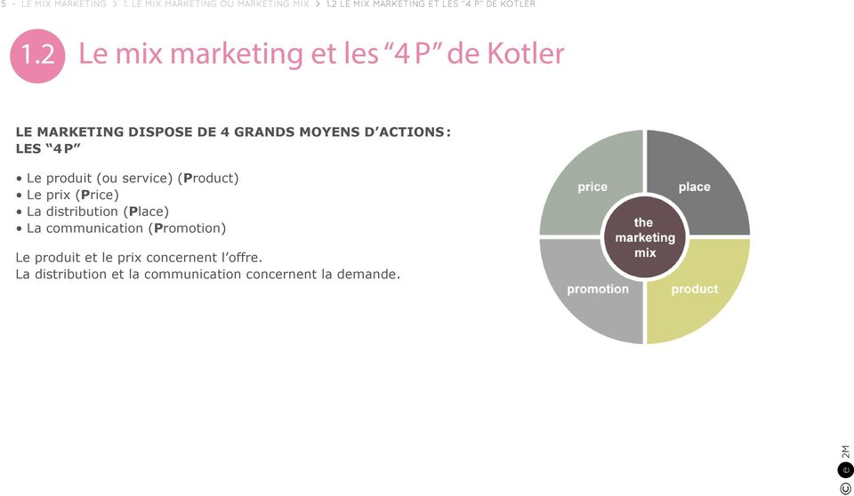 2 Le mix marketing et les 4 P de Kotler Le marketing dispose de 4 grands moyens d actions : Les 4 P Le
