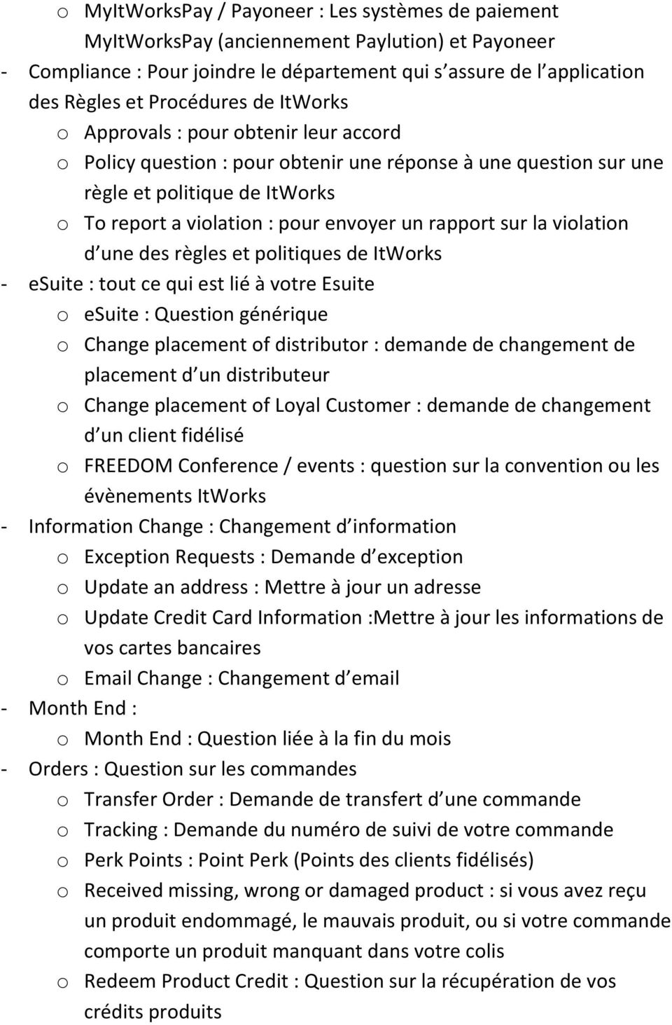 un rapport sur la violation d une des règles et politiques de ItWorks - esuite : tout ce qui est lié à votre Esuite o esuite : Question générique o Change placement of distributor : demande de