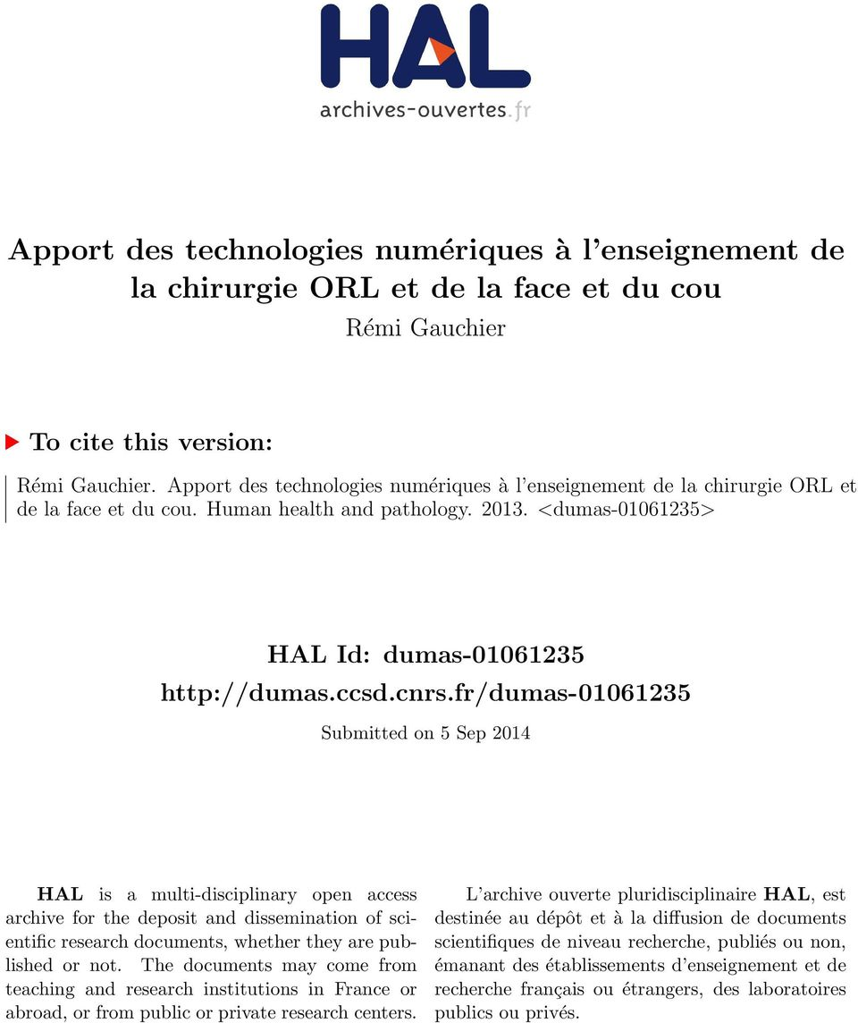 fr/dumas-01061235 Submitted on 5 Sep 2014 HAL is a multi-disciplinary open access archive for the deposit and dissemination of scientific research documents, whether they are published or not.