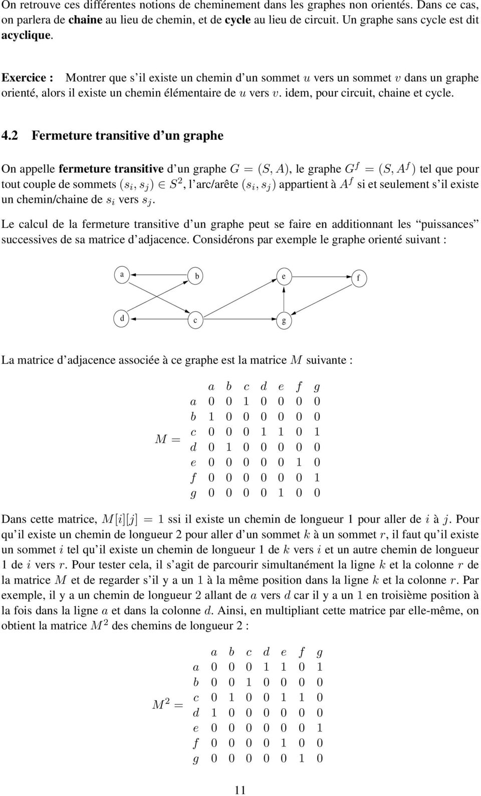 .2 Fermeture transitive un graphe On appelle fermeture transitive un graphe G = (S, A), le graphe G f = (S, A f ) tel que pour tout couple e sommets (s i, s j ) S 2, l arc/arête (s i, s j )