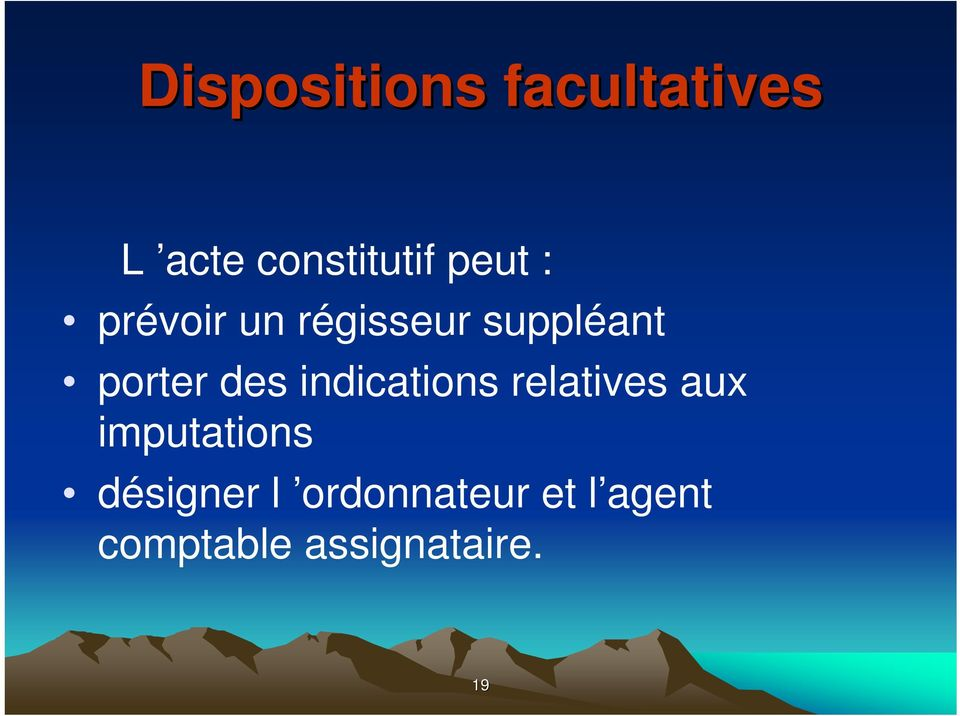 des indications relatives aux imputations