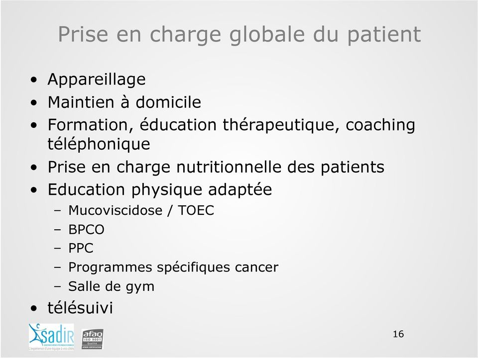 charge nutritionnelle des patients Education physique adaptée