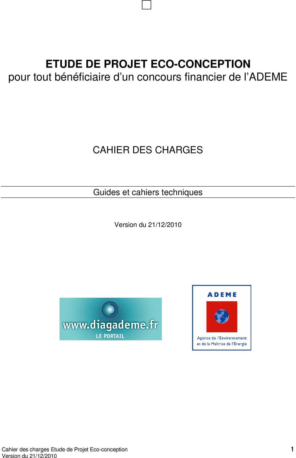 ADEME CAHIER DES CHARGES Guides et cahiers