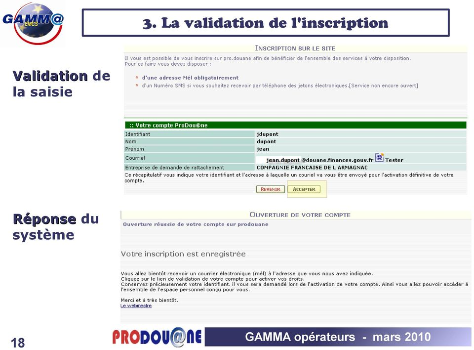 Validation de la