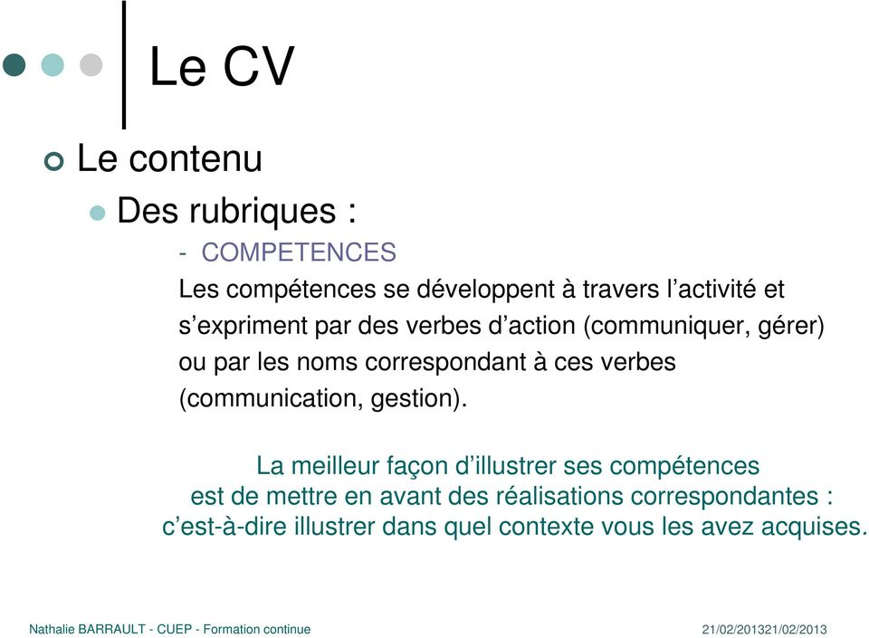 verbes (communication, gestion).