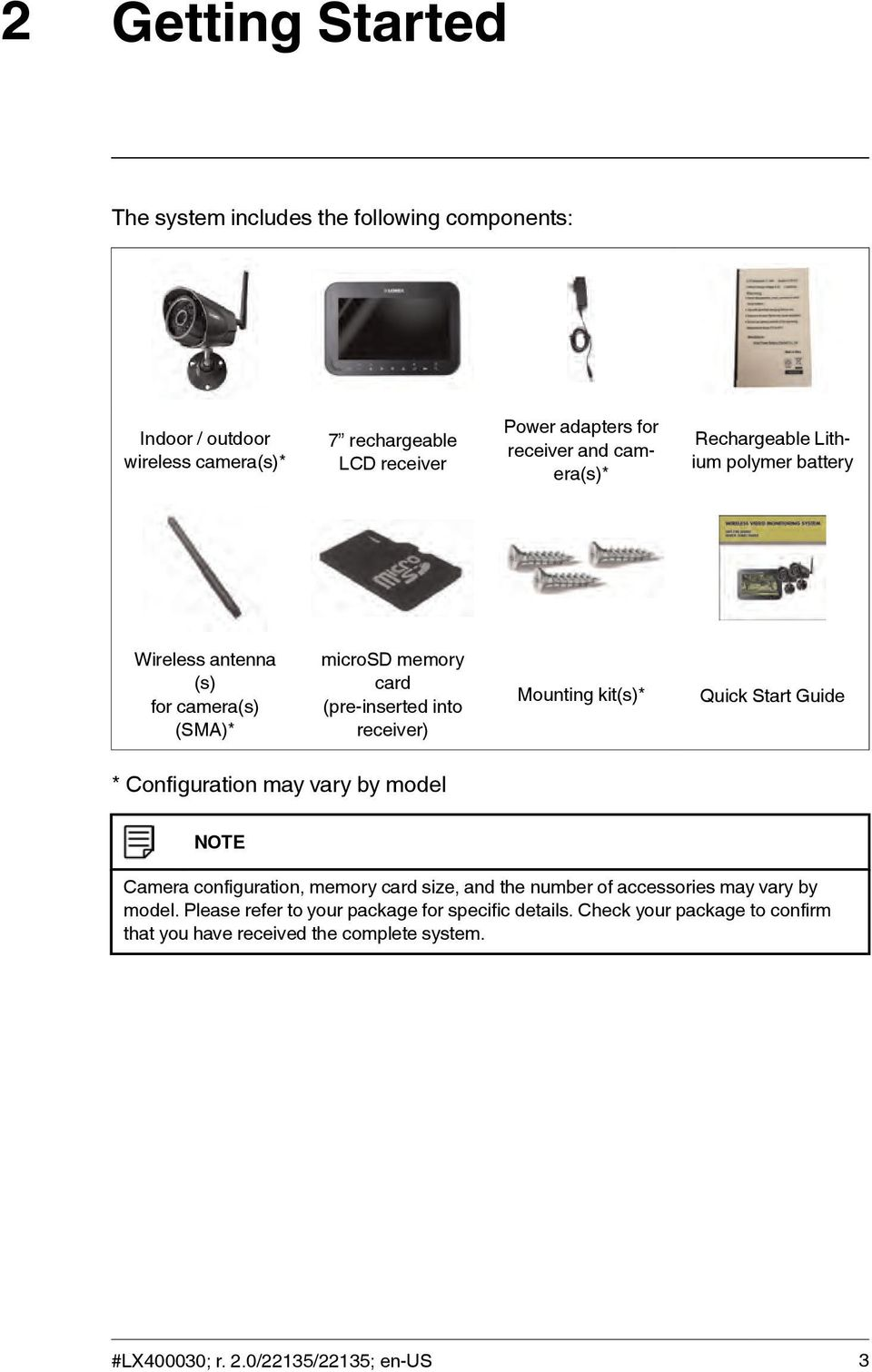 kit(s)* Quick Start Guide * Configuration may vary by model NOTE Camera configuration, memory card size, and the number of accessories may vary by model.
