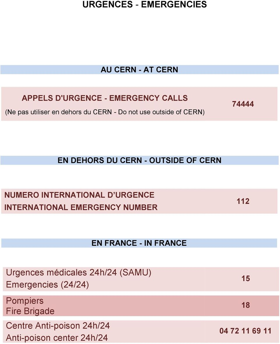 URGENCE INTERNATIONAL EMERGENCY NUMBER 112 EN FRANCE - IN FRANCE Urgences médicales 24h/24 (SAMU)