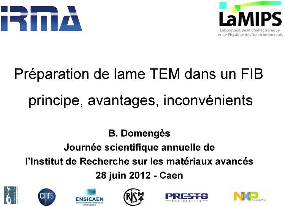 Domengès Journée scientifique annuelle de l