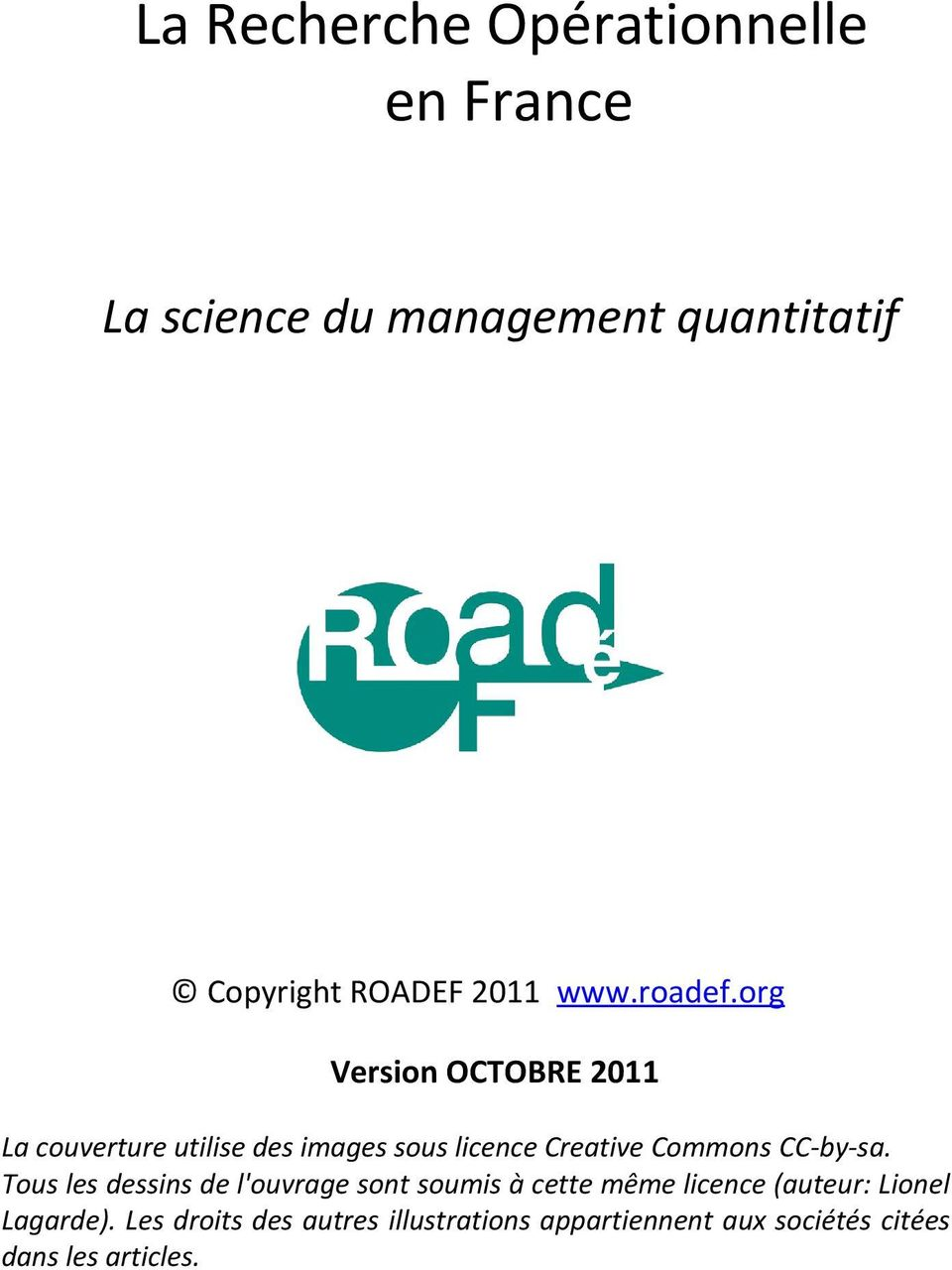 org Version OCTOBRE 2011 La couverture utilise des images sous licence Creative Commons