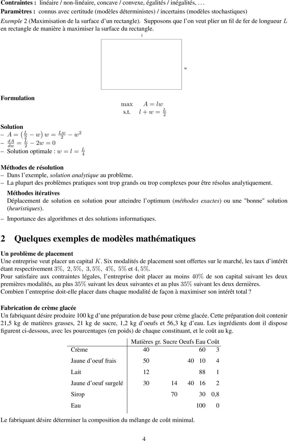 Supposons que l on veut plier un fil de fer de longueur L en rectangle de manière à maximiser la surface du rectangle. l w Formulation max A = lw s.t. l + w = L Solution A = ( L w) w = Lw w da dw = L w = Solution optimale : w = l = L Méthodes de résolution Dans l exemple, solution analytique au problème.
