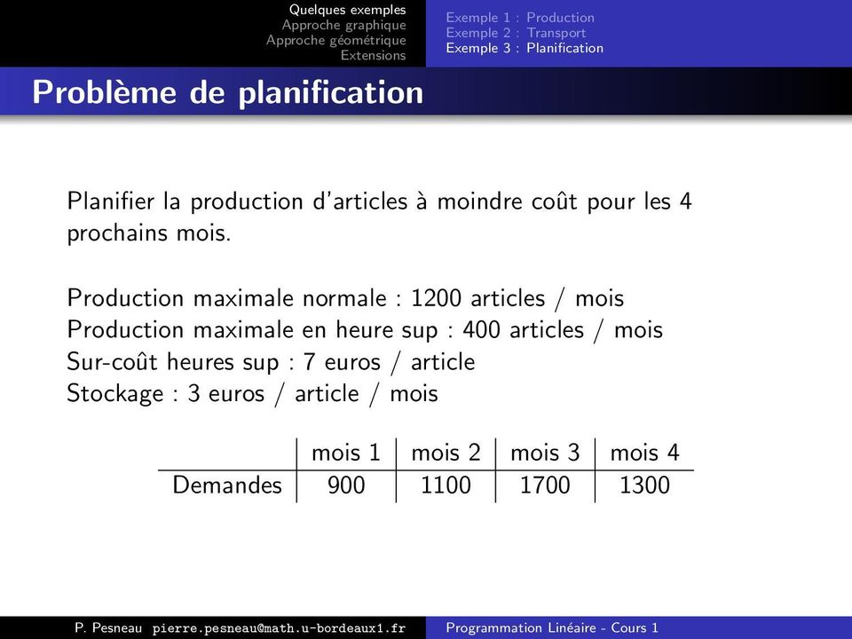 Production maximale normale : 1200 articles / mois Production maximale en heure sup : 400 articles /