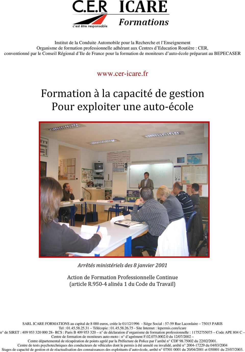 formation la capacit de gestion pour exploiter une auto cole pdf. Black Bedroom Furniture Sets. Home Design Ideas