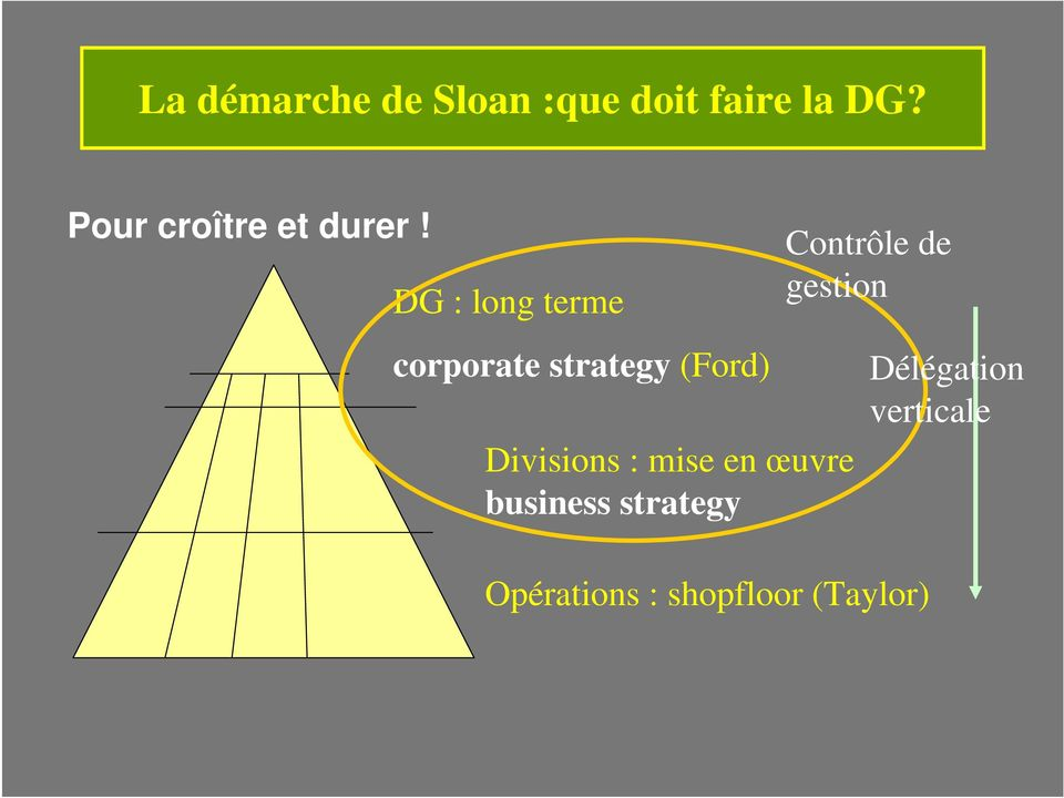 DG : long terme corporate strategy (Ford) Divisions :