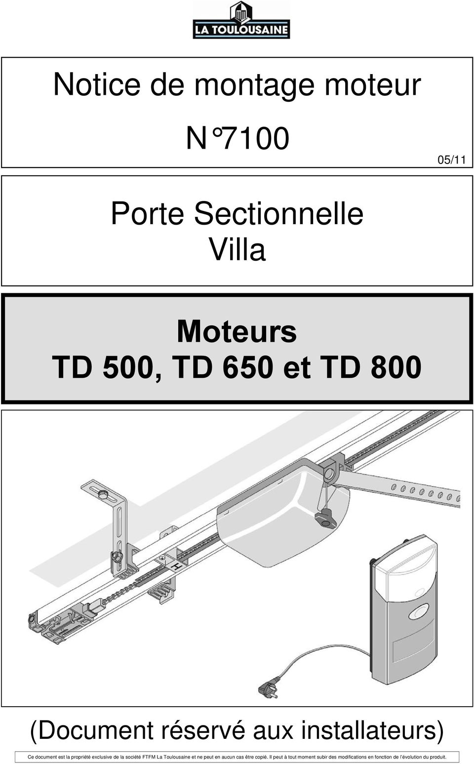 Notice de montage moteur n porte sectionnelle villa for Notice de montage porte de garage sectionnelle