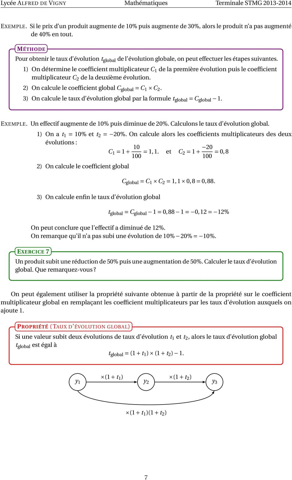 1) On détermine le coefficient multiplicateur C 1 de la première évolution puis le coefficient multiplicateur C 2 de la deuxième évolution. 2) On calcule le coefficient global C global = C 1 2.