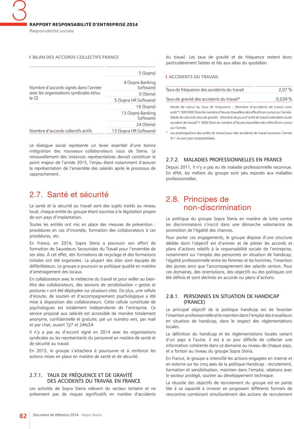 Nombre d accords signés dans l année avec les organisations syndicales et/ou le CE Nombre d accords collectifs actifs 5 (Sopra) 4 (Sopra Banking Software) 0 (Steria) 5 (Sopra HR Software) 16 (Sopra)