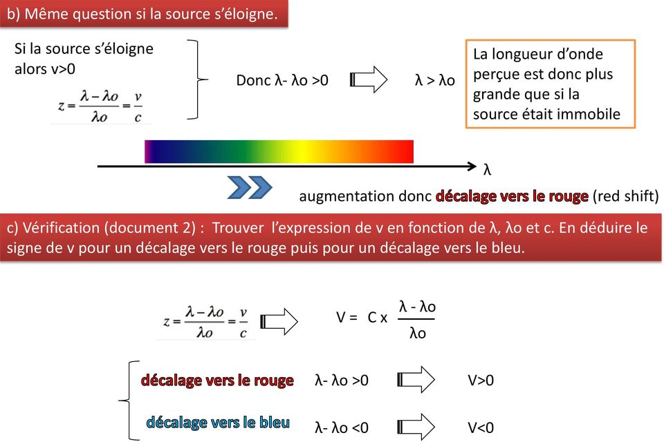 si la source était immobile augmentation donc λ (red shift) c) Vérification (document 2) : Trouver l