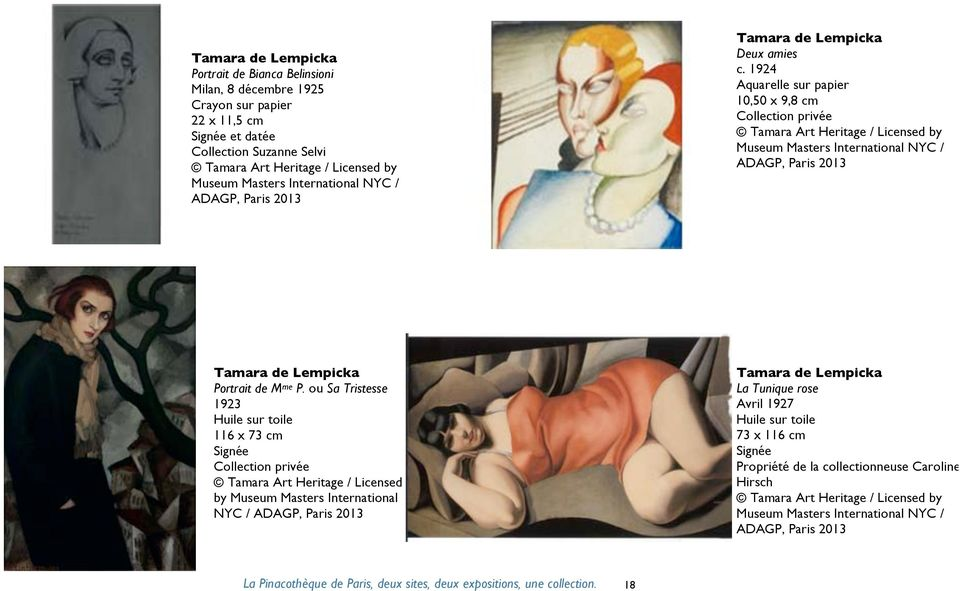 1924 Aquarelle sur papier 10,50 x 9,8 cm Tamara Art Heritage / Licensed by Museum Masters International NYC / ADAGP, Paris 2013 Tamara de Lempicka Portrait de M me P.