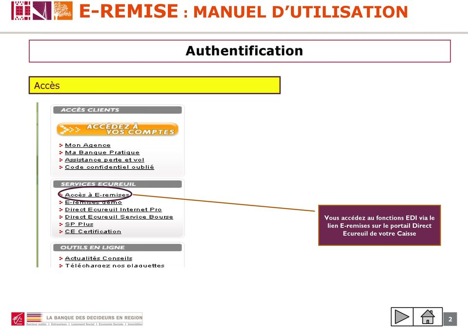 fonctions EDI via le lien E-remises
