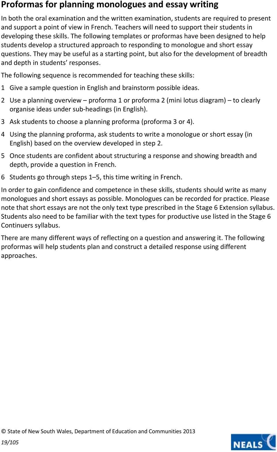 french extension contents support materials hsc stage  the following templates or proformas have been designed to help students develop a structured approach to
