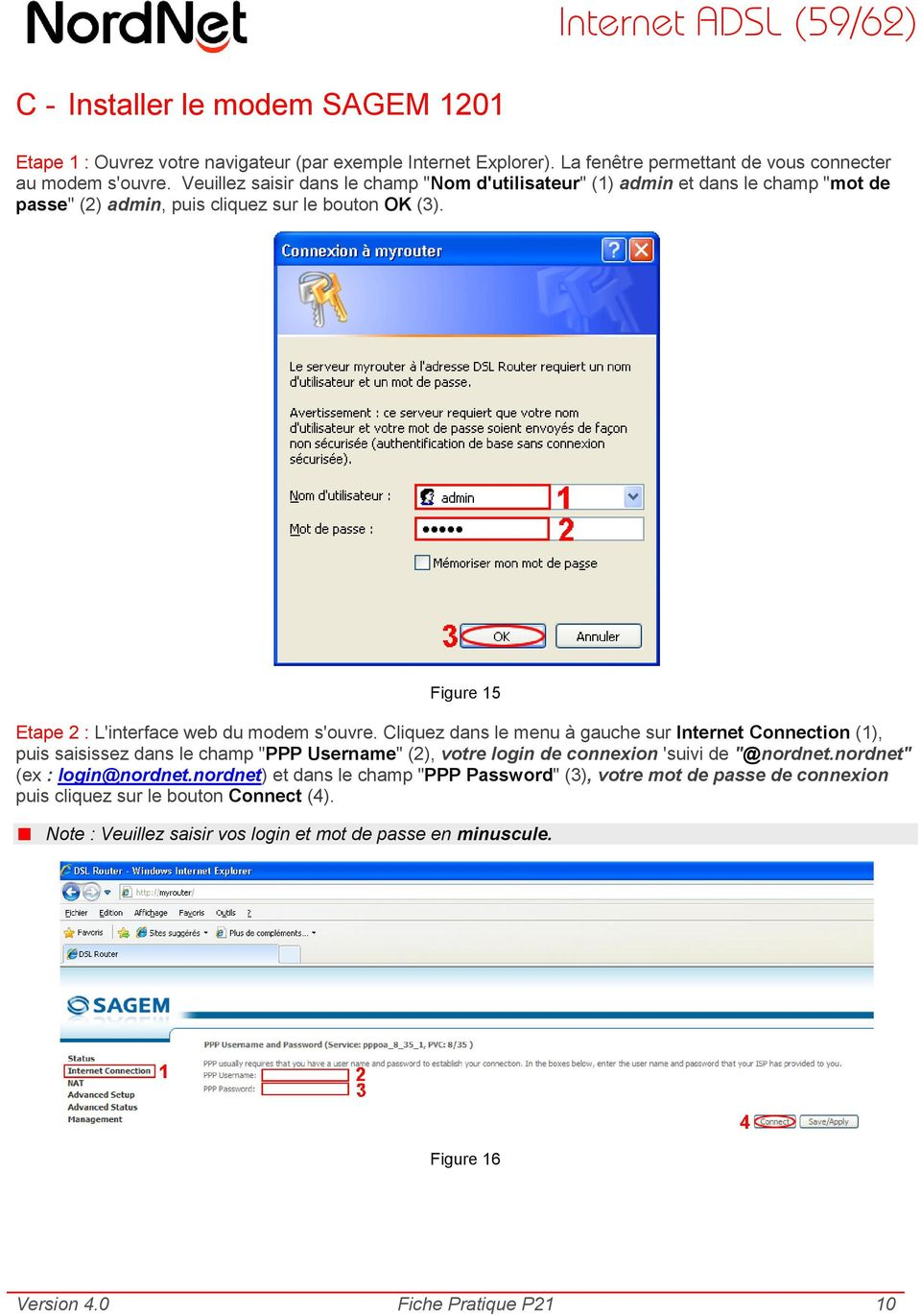 Figure 15 Etape 2 : L'interface web du modem s'ouvre.