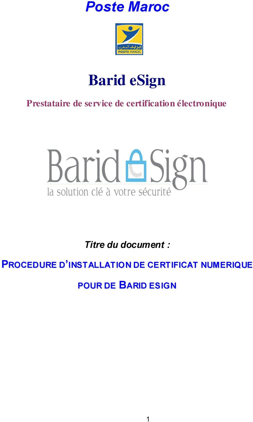 Titre du document : PROCEDURE D
