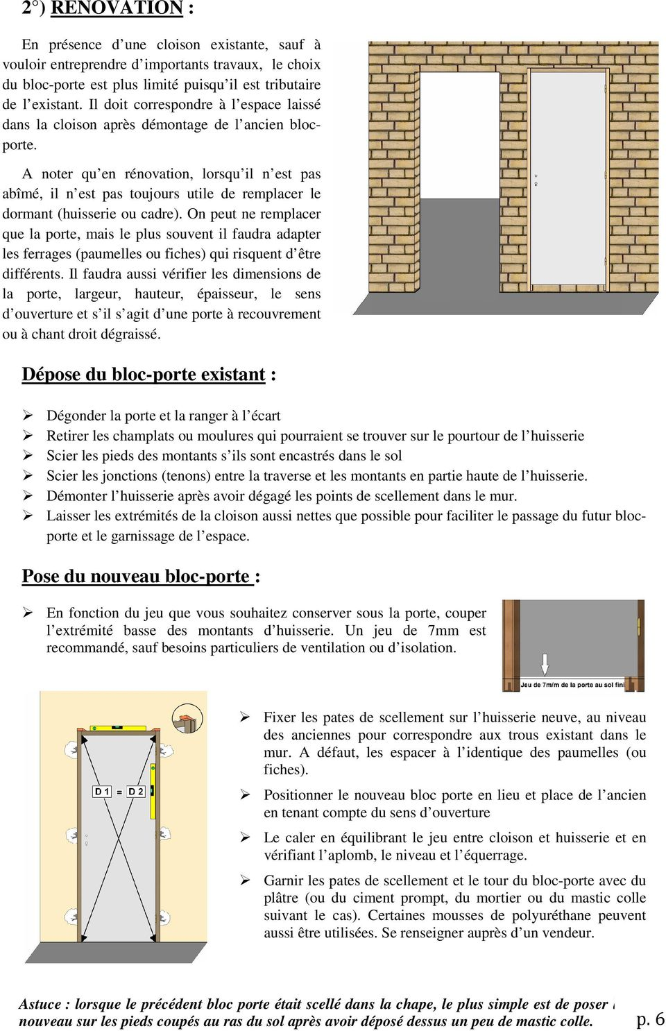 guide d achat et de pose d un bloc porte pdf. Black Bedroom Furniture Sets. Home Design Ideas