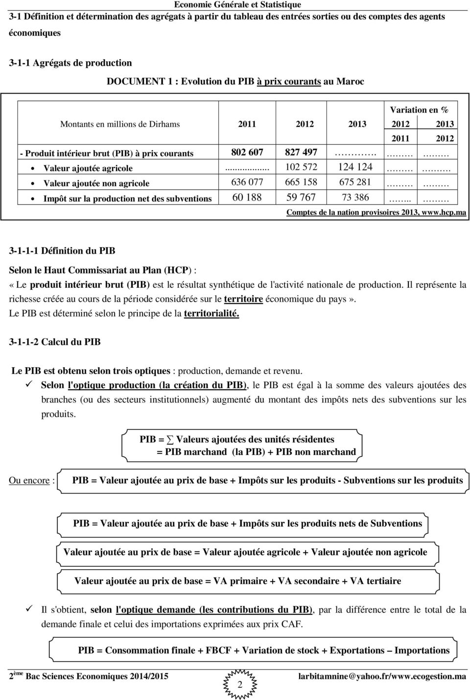 Economie generale et statistique 2 me bac sciences for Definition du produit interieur brut