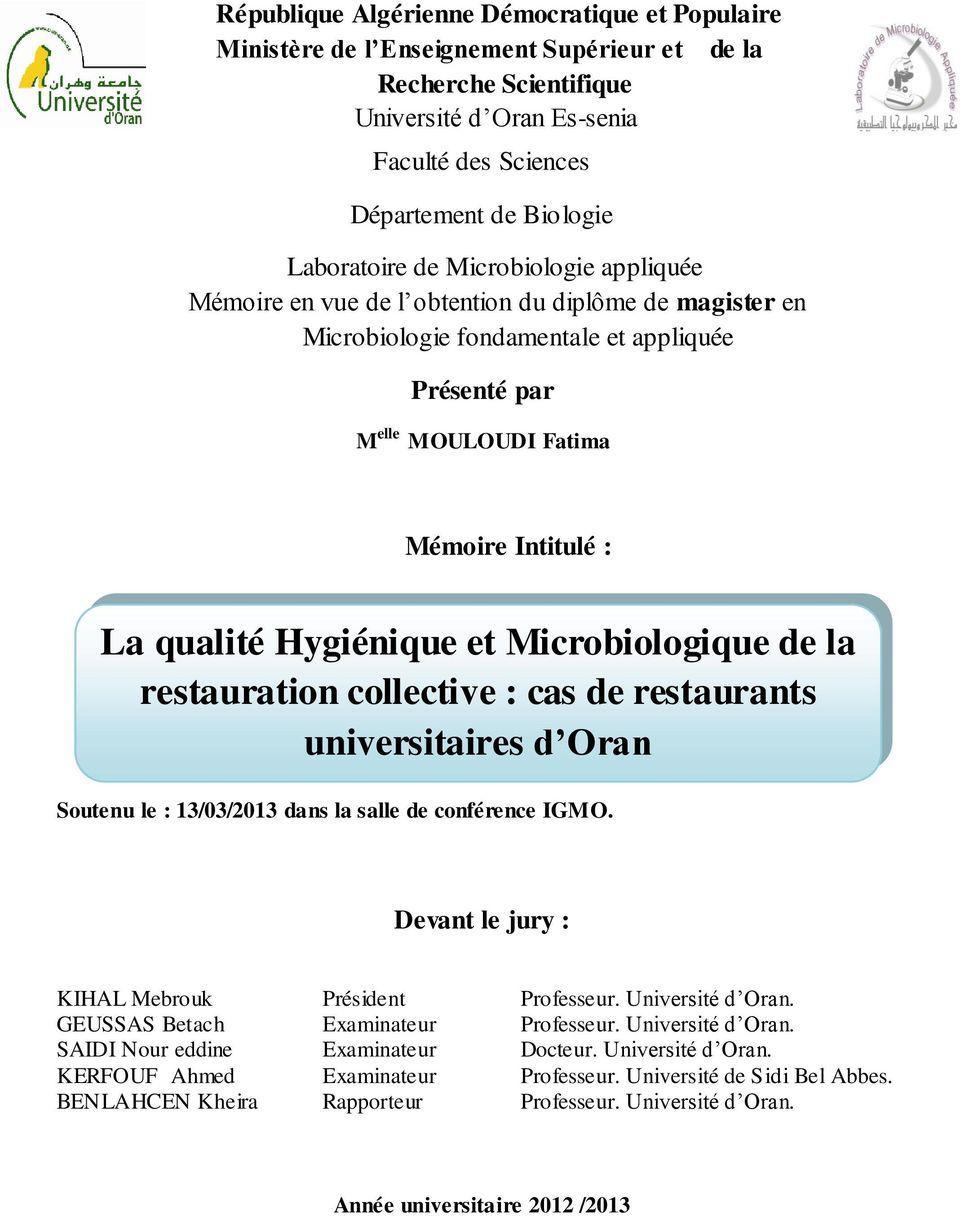 La qualit hygi nique et microbiologique de la for Diplome restauration collective