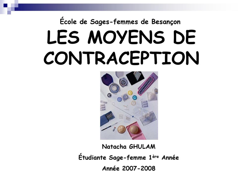 CONTRACEPTION Natacha GHULAM