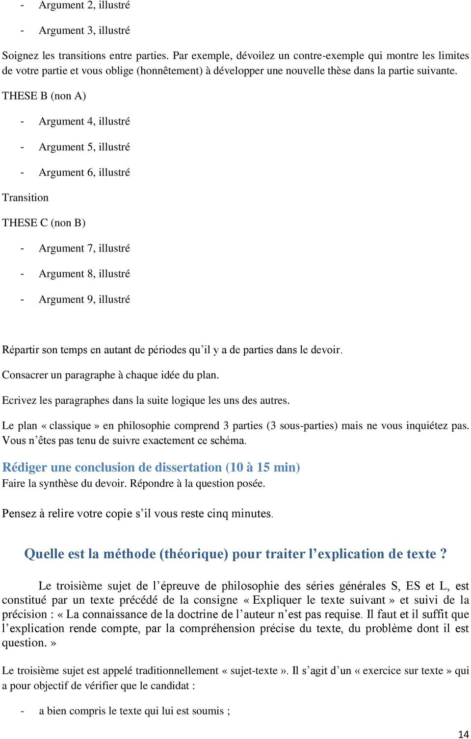 THESE B (non A) - Argument 4, illustré - Argument 5, illustré - Argument 6, illustré Transition THESE C (non B) - Argument 7, illustré - Argument 8, illustré - Argument 9, illustré Répartir son temps