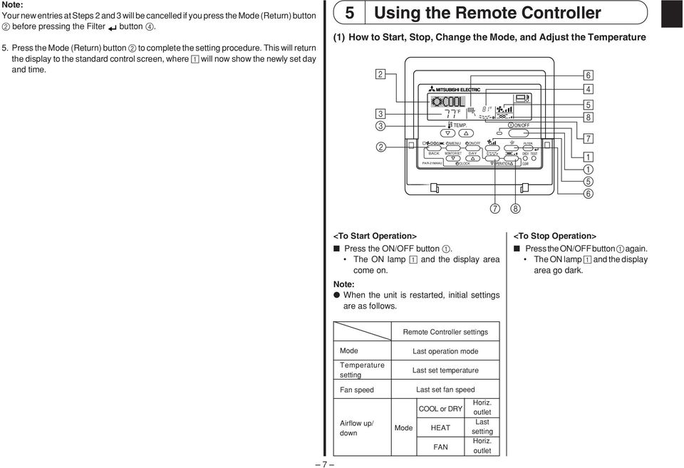 5 Using the Remote Controller () How to Start, Stop, Change the Mode, and Adjust the Temperature 2 3 3 2 TEMP.