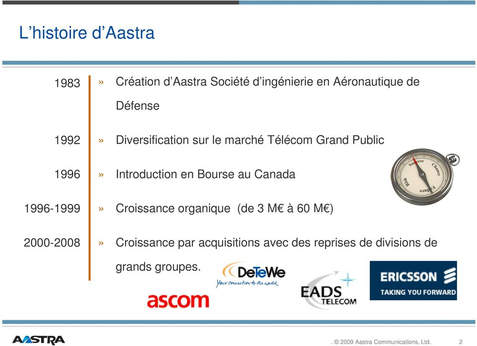 Introduction en Bourse au Canada 1996-1999» Croissance organique (de 3 M à 60 M )