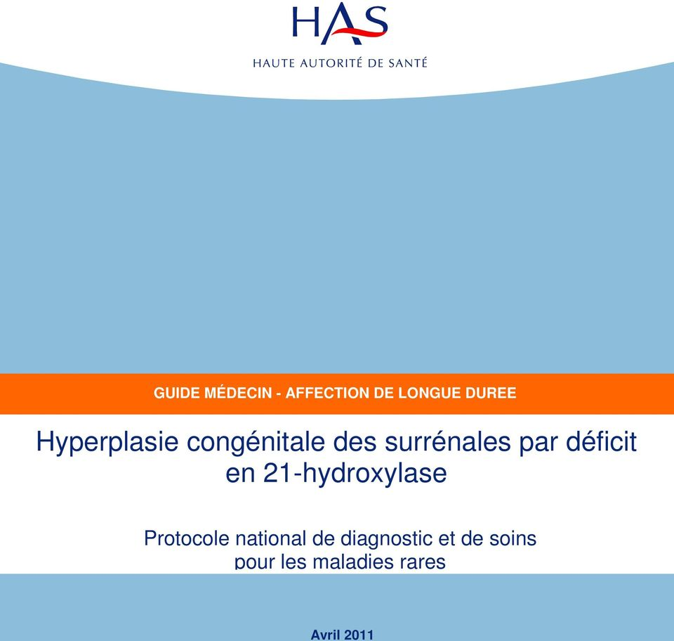 déficit en 21-hydroxylase Protocole national de