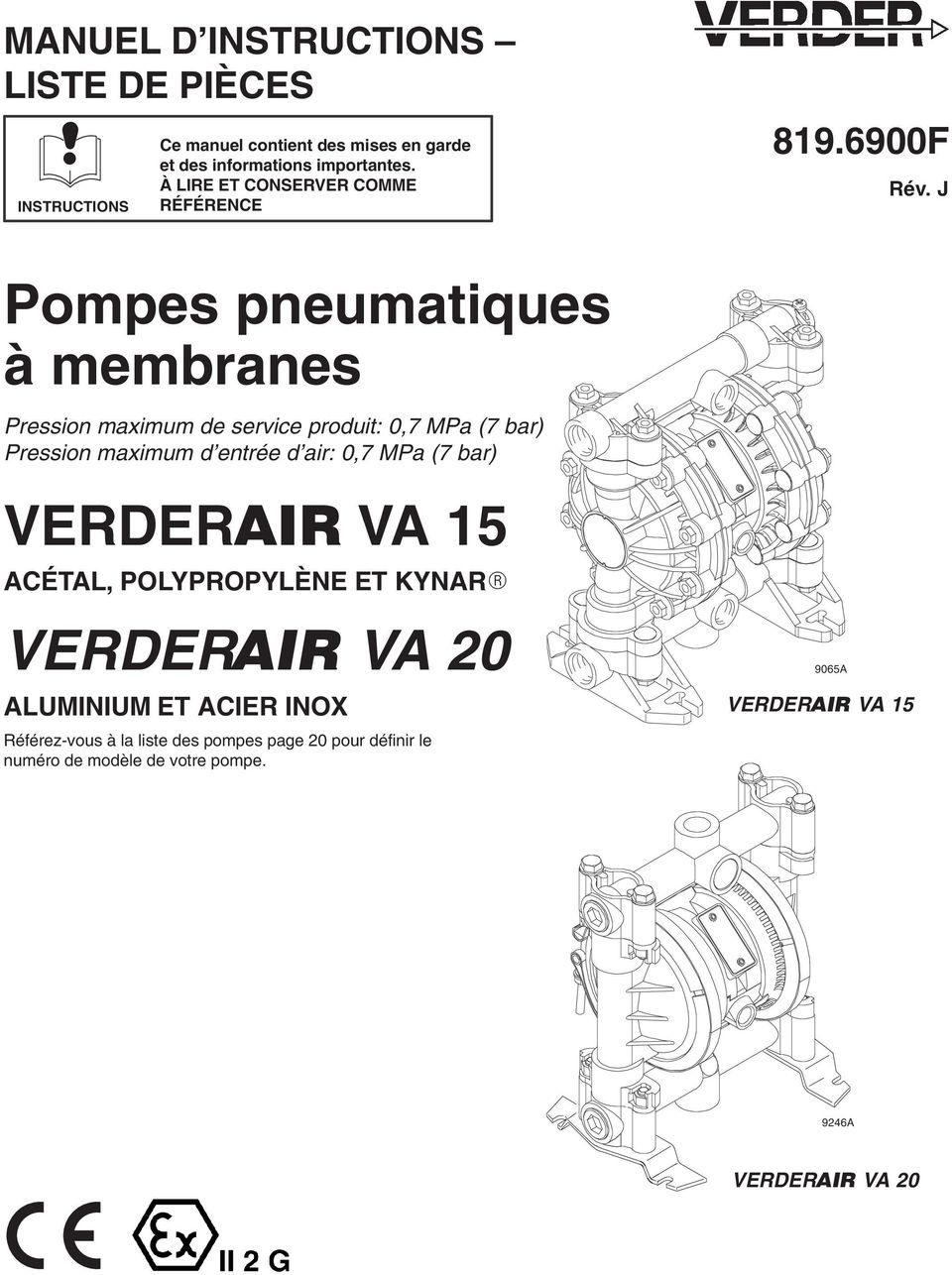 J Pompes pneumatiques à membranes Pression maximum de service produit: 0,7 MPa (7 bar) Pression maximum d entrée d air: 0,7 MPa