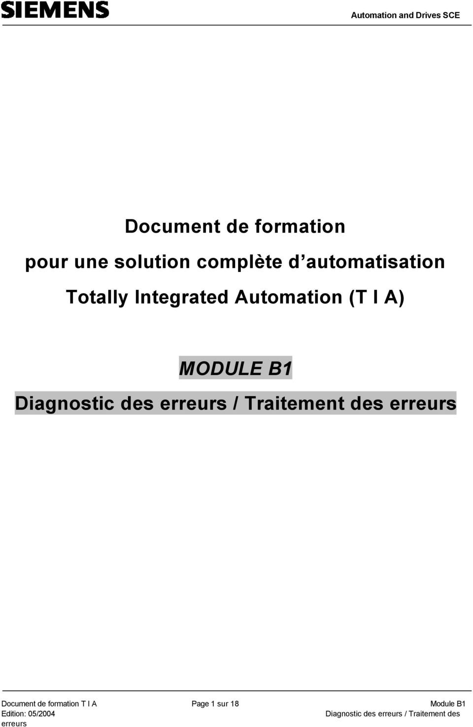 Integrated Automation (T I A) MODULE B1