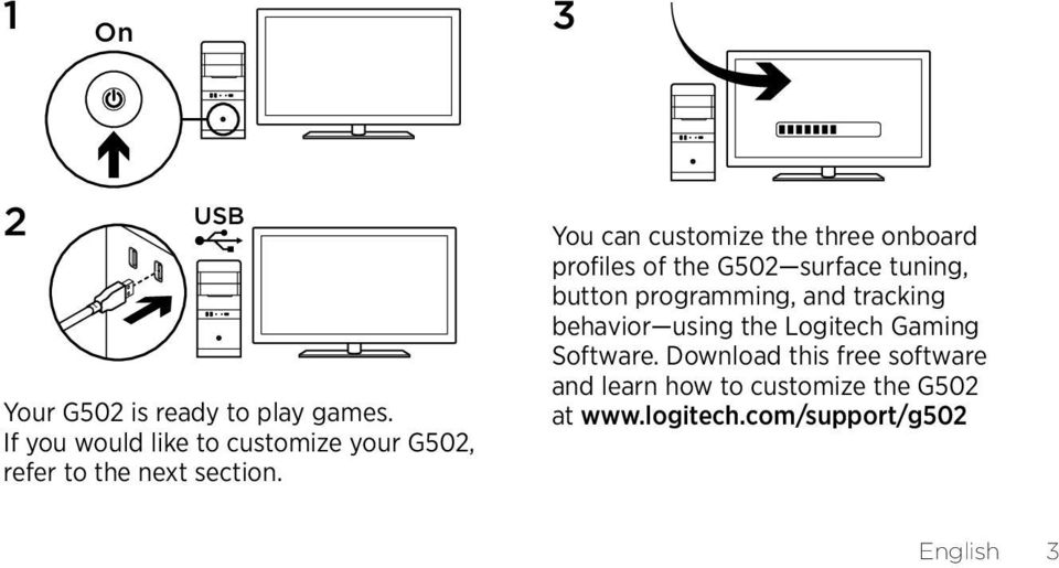 You can customize the three onboard profiles of the G502 surface tuning, button programming,