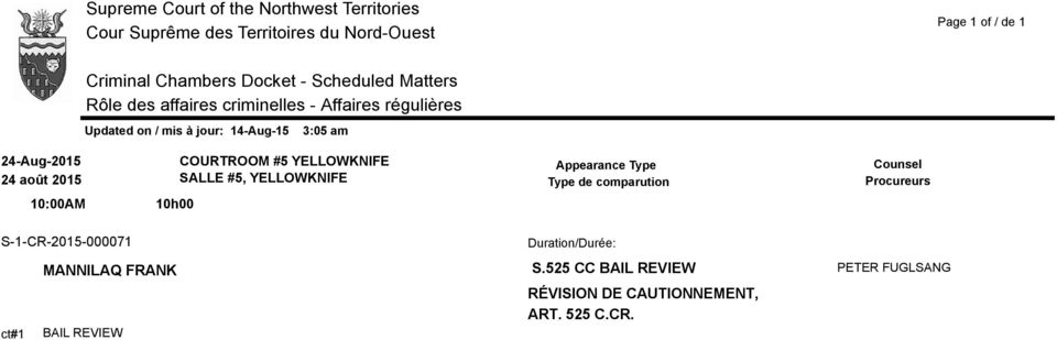 S-1-CR-2015-000071 MANNILAQ FRANK ct#1 BAIL REVIEW