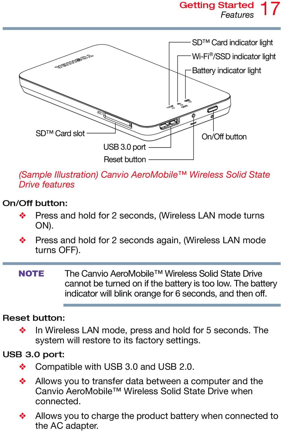 Press and hold for 2 seconds again, (Wireless LAN mode turns OFF). NOTE The Canvio AeroMobile Wireless Solid State Drive cannot be turned on if the battery is too low.