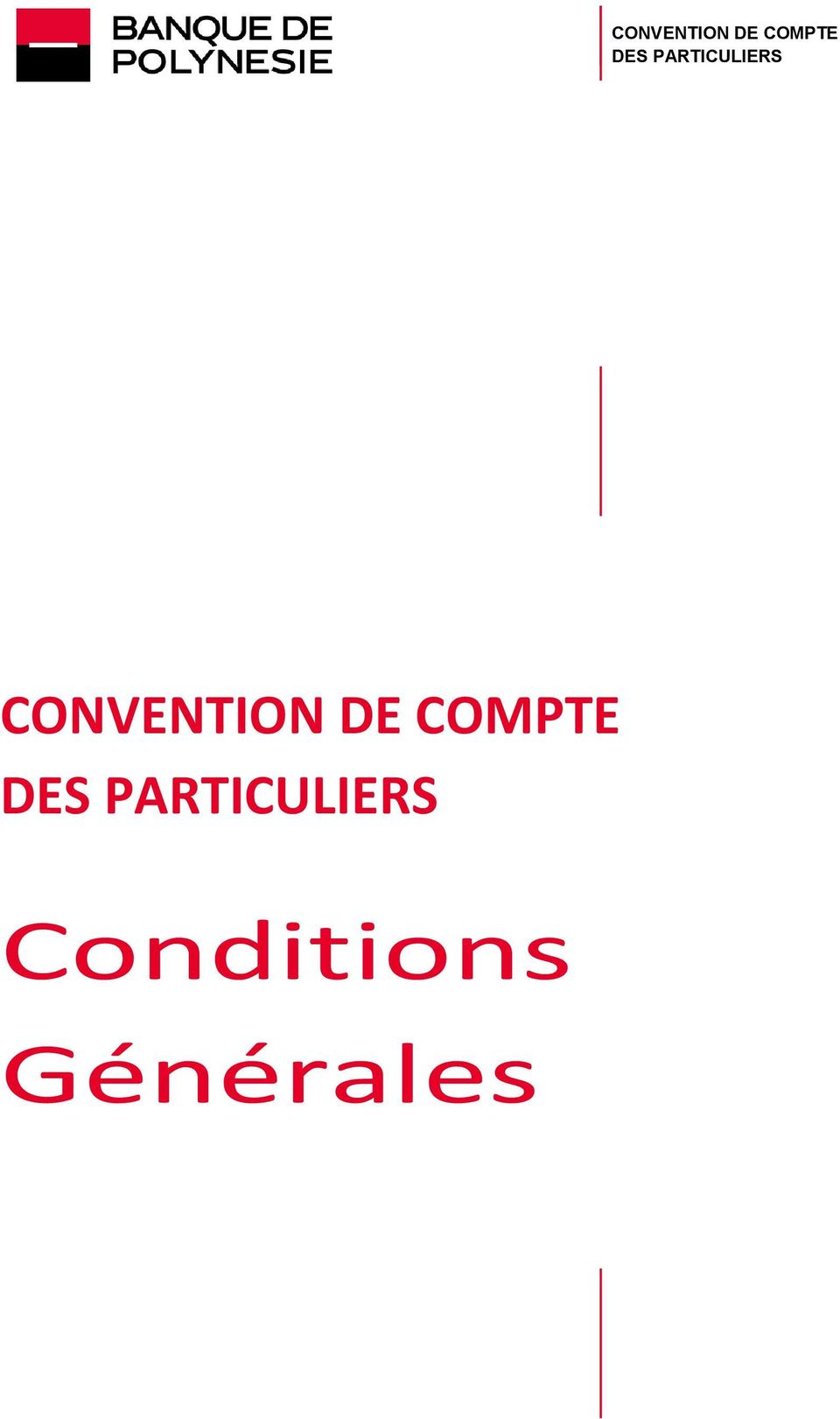PARTICULIERS Conditions