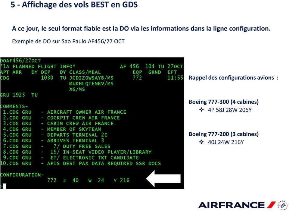 Exemple de DO sur Sao Paulo AF456/27 OCT Rappel des configurations