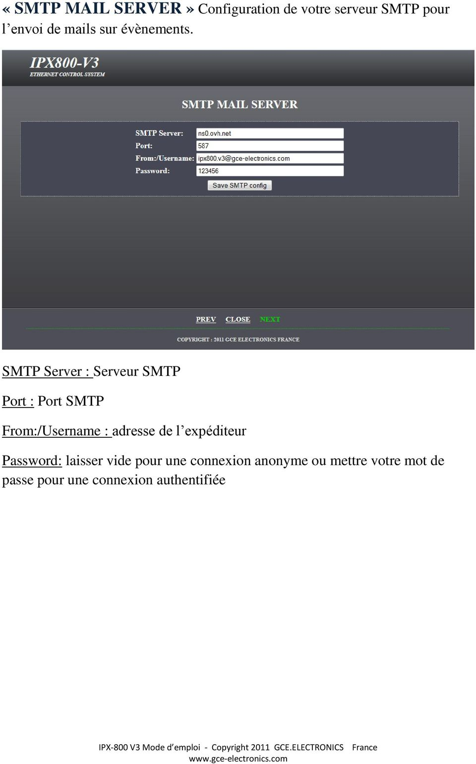 SMTP Server : Serveur SMTP Port : Port SMTP From:/Username : adresse de