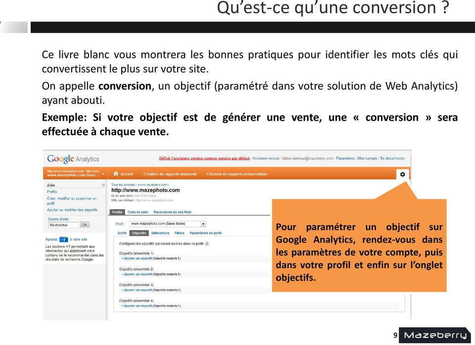 On appelle conversion, un objectif (paramétré dans votre solution de Web Analytics) ayant abouti.