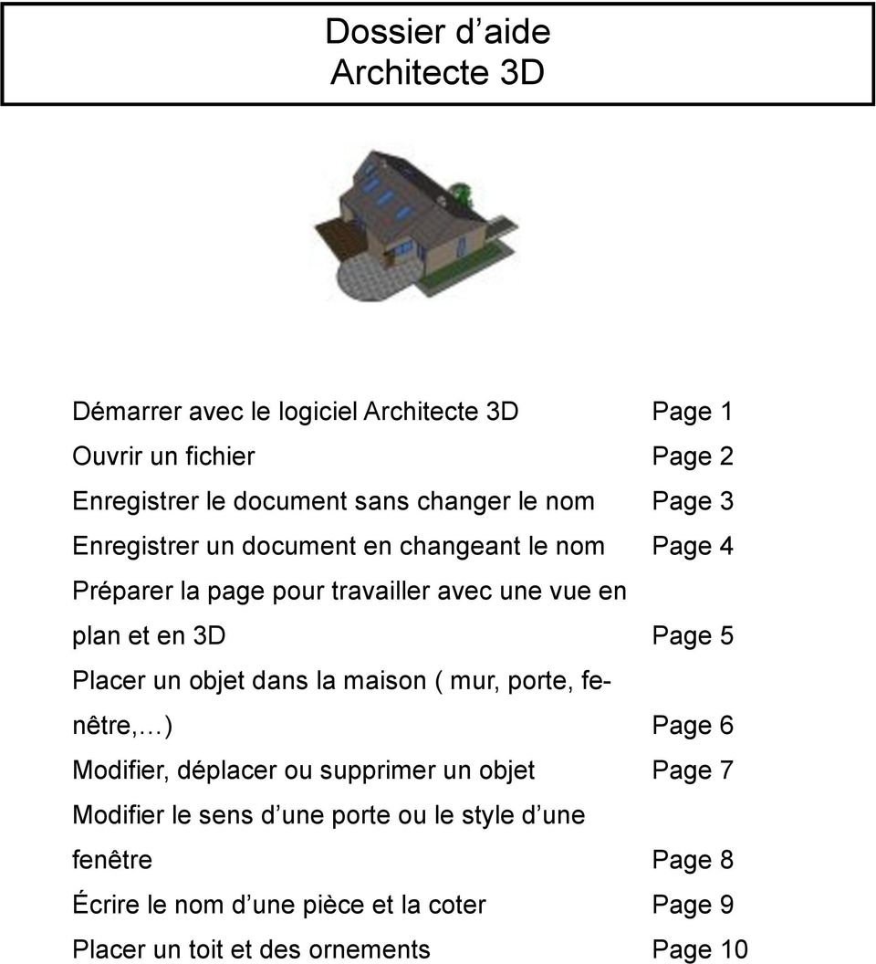 page 1 d marrer avec le logiciel architecte 3d barre de menu les commandes du logiciel pdf. Black Bedroom Furniture Sets. Home Design Ideas