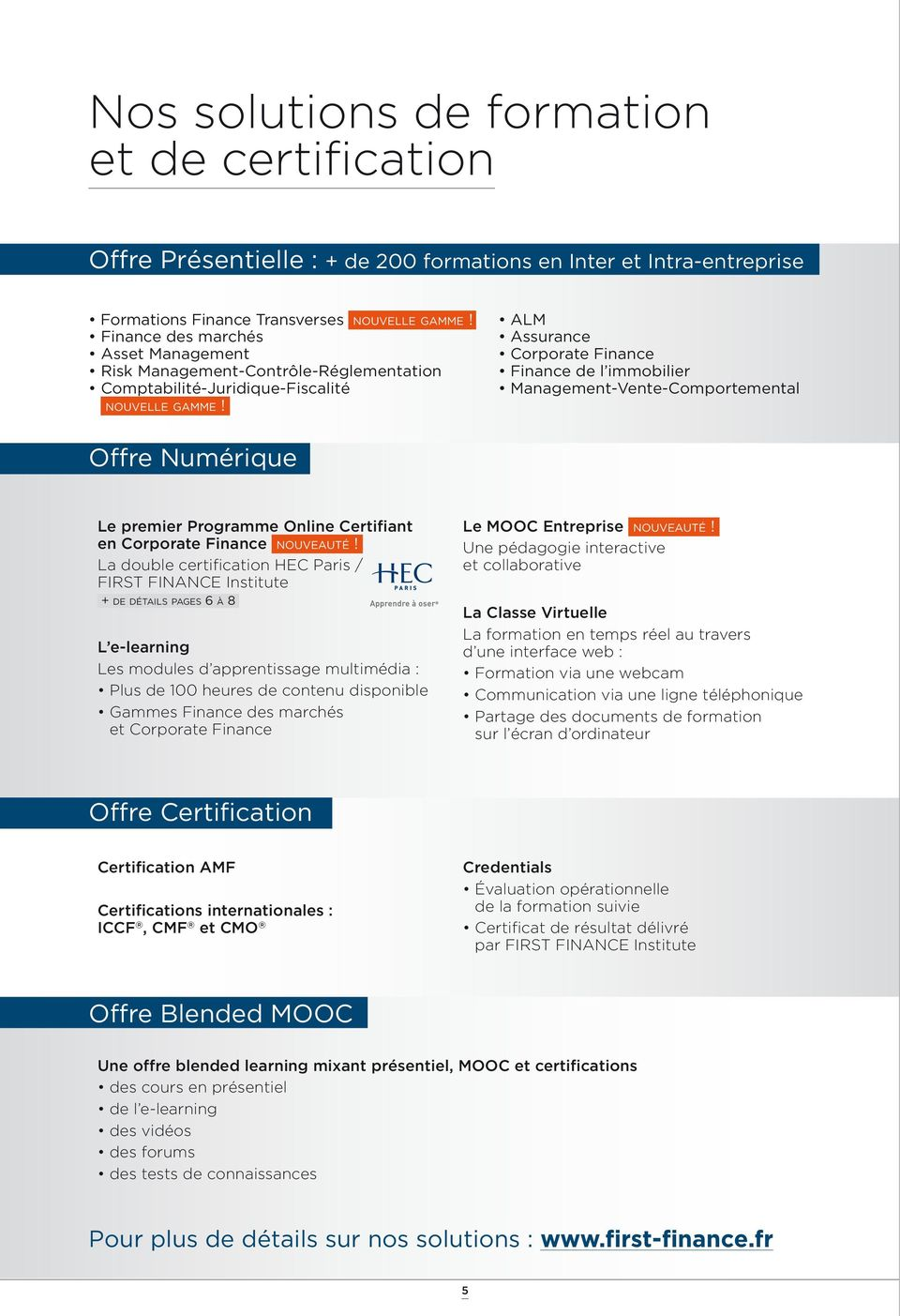 ALM Assurance Corporate Finance Finance de l immobilier Management-Vente-Comportemental Offre Numérique Le premier Programme Online Certifiant en Corporate Finance nouveauté!
